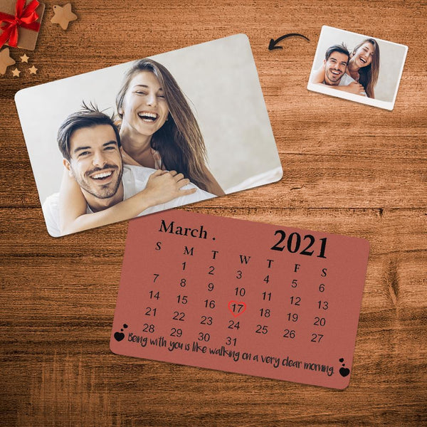Custom Anniversary Photo Calendar Wallet Card