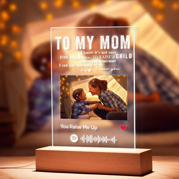 To My Mom - Personalized Spotify Code Music Plaque Night Light(5.9in x 7.7in)