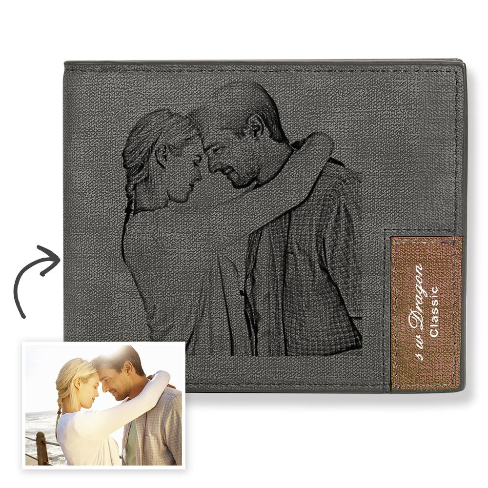 Men's Biffold Short Custom Photo Wallet - First Day I met you
