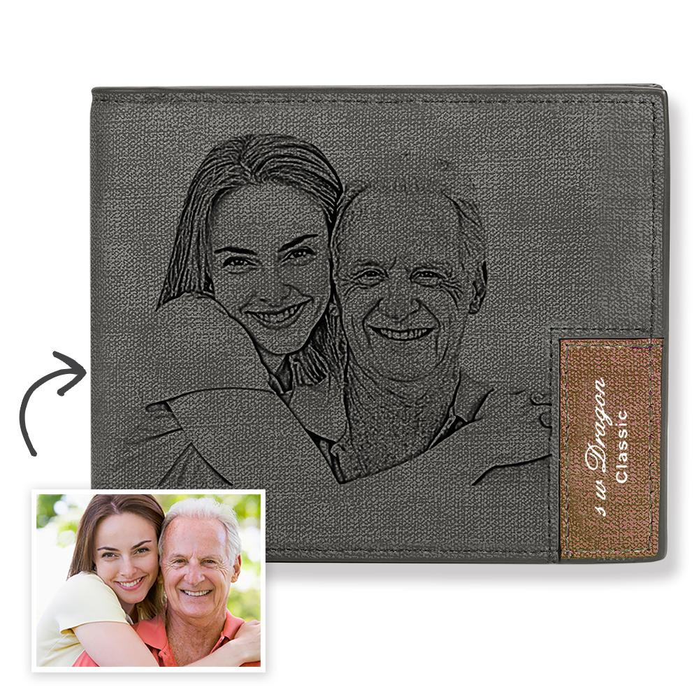 Men's Biffold Short Custom Photo Wallet Grey