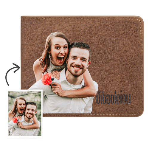 Custom Photo Wallet Brown Color Printing Brown