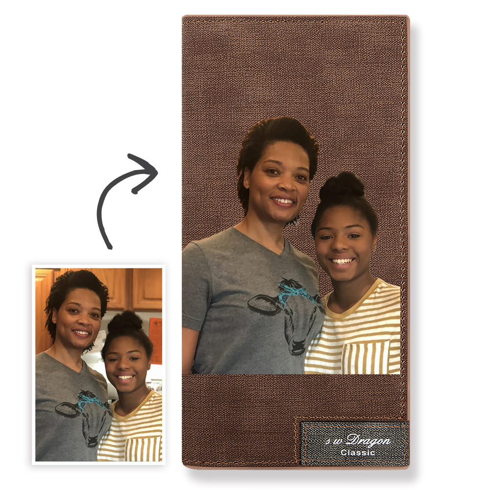 Long Custom Photo Wallet Brown Color Printing