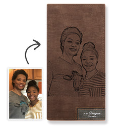 Long Custom Photo Wallet Brown - Mother's Day Gift