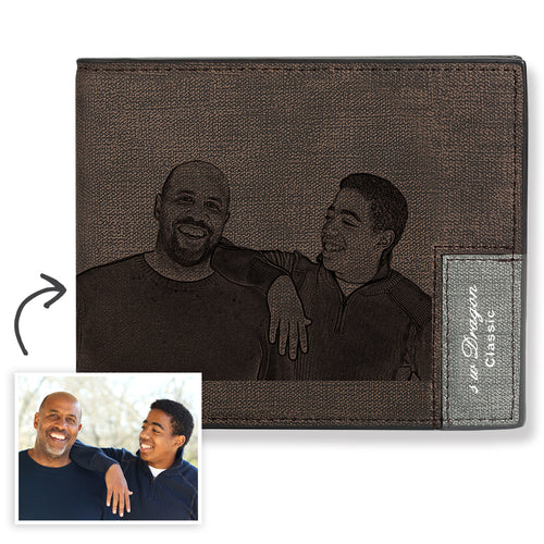 Men's Biffold Short Custom Photo Wallet Brown