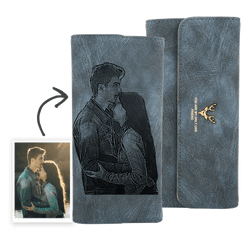 Women's Photo Engraved Trifold Photo Wallet - Blue Leather