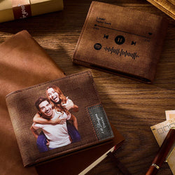 Scannable Spotify Code Wallet Photo Engraved Wallet Memorial Gifts-Brown