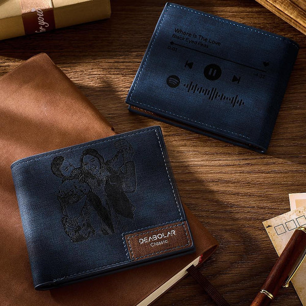 Scannable Spotify Code Wallet Photo Engraved Wallet Memorial Gifts-Blue