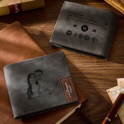 Scannable Spotify Code Wallet Photo Engraved Wallet Memorial Gifts