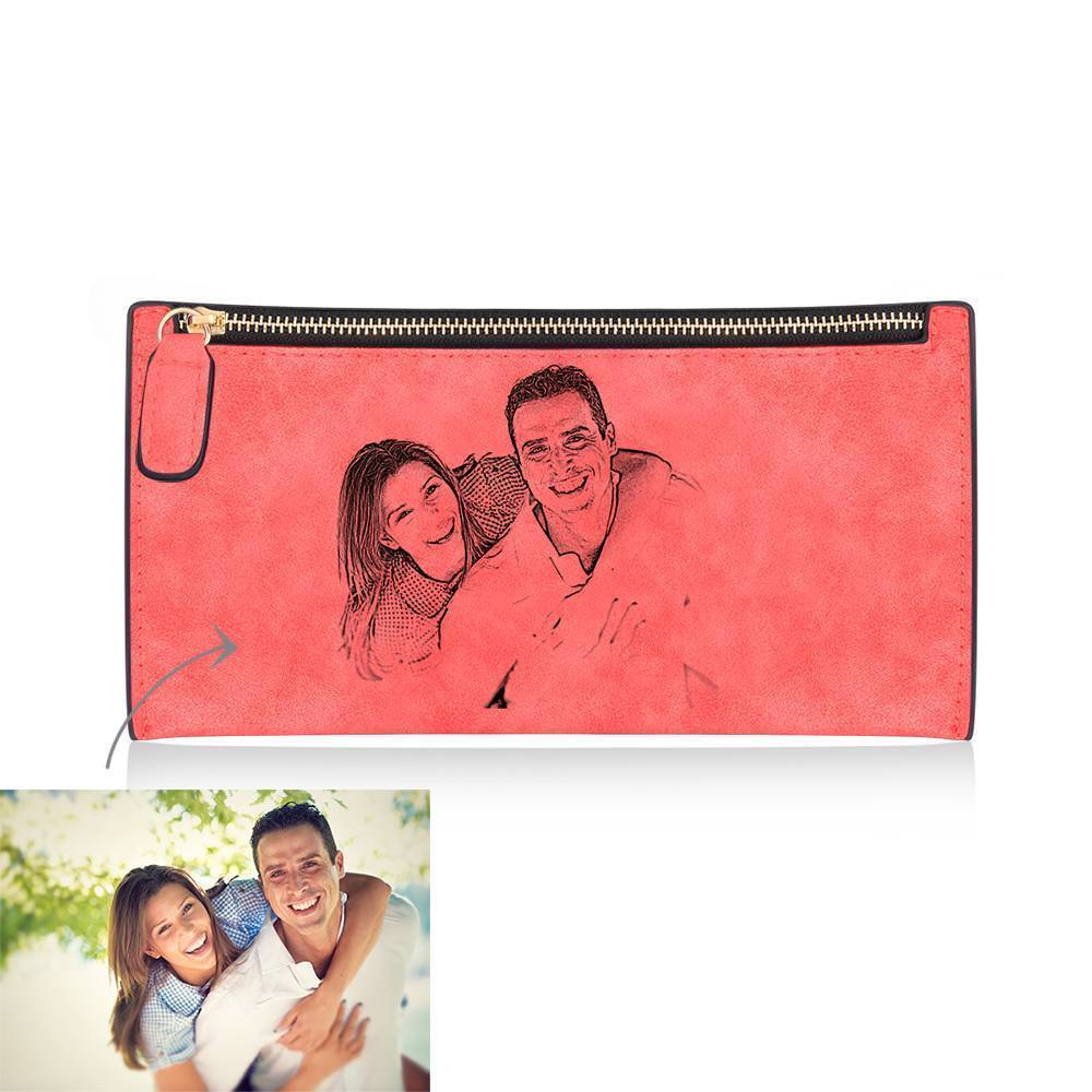 Women's Long Style Custom Inscription Photo Engraved Zipper Wallet - Red Leather