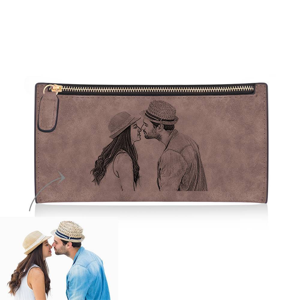 Women's Long Style Custom Inscription Photo Engraved Zipper Wallet - Brown Leather
