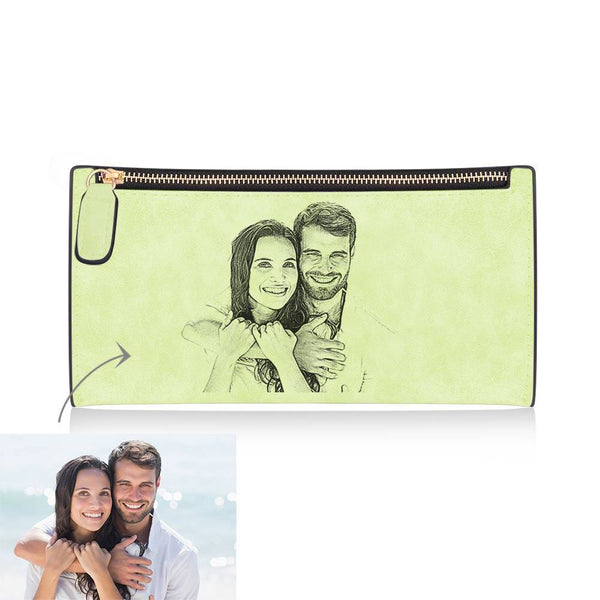 Women's Long Style Custom Inscription Photo Engraved Zipper Wallet - Light Green Leather