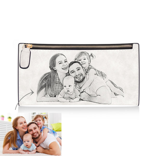 Women's Long Style Custom Inscription Photo Engraved Zipper Wallet - White Leather