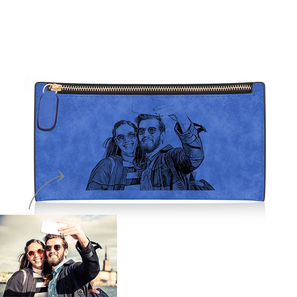 Women's Long Style Custom Inscription Photo Engraved Zipper Wallet - Blue Leather