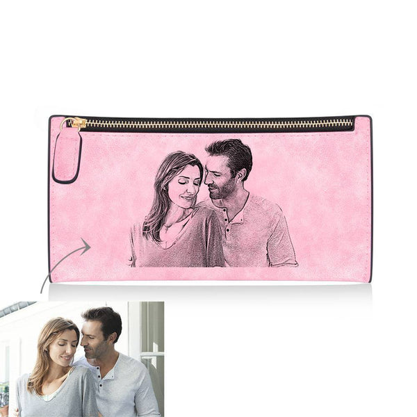 Women's Long Style Custom Inscription Photo Engraved Zipper Wallet - Pink Leather