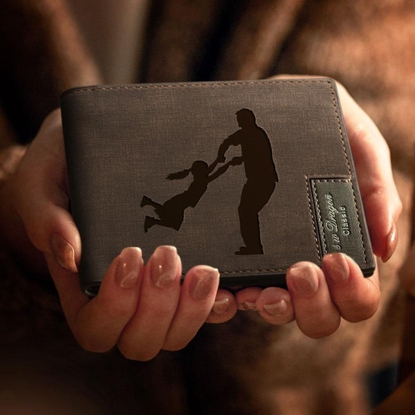 Personalized Silhouettes Engraved Wallet - Special Bifold Wallet for Dad