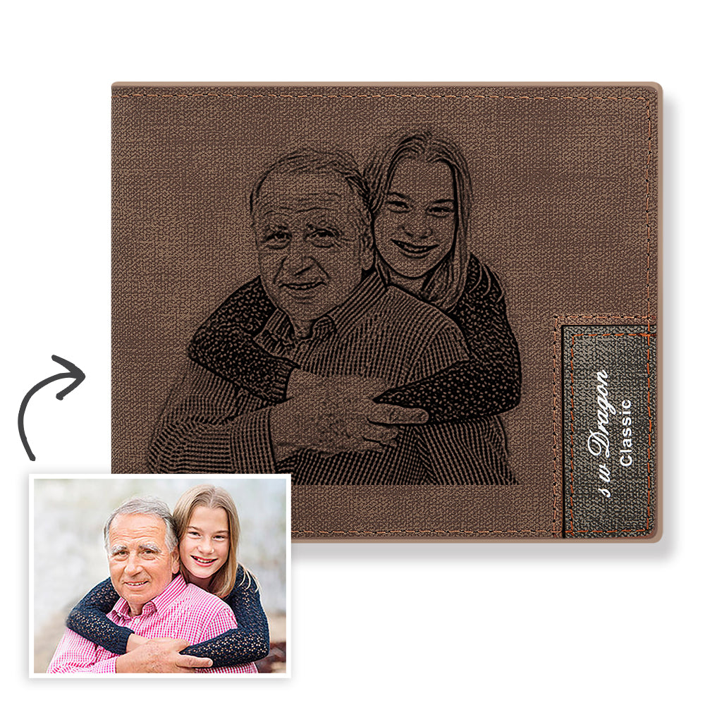 Brown Custom Photo Engraved Wallet - Never Fade Away