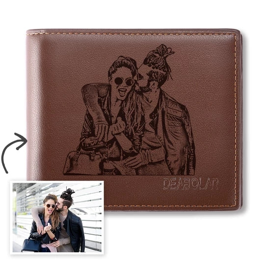 HIGH QUALITY CUSTOM MEN'S TRIFOLD PHOTO WALLET BROWN