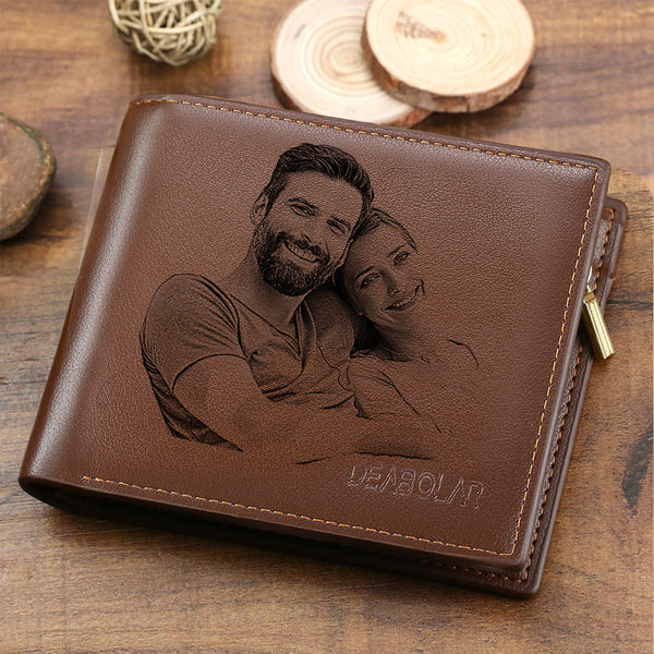 UK Men's Trifold Custom Photo Wallet - Brown