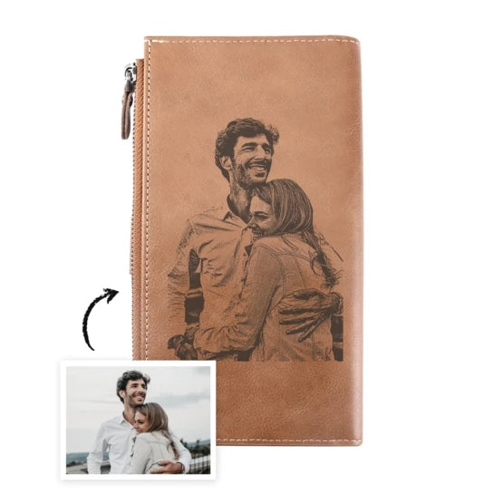 BIFOLD CUSTOM PHOTO LEATHER MINIMALIST WALLET LONG STYLE - CROSS