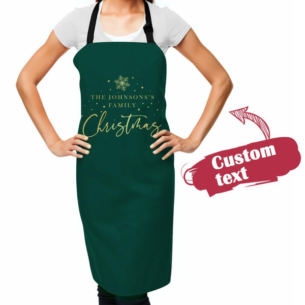 Custom Text Apron Personalized Name Kitchen Cooking Christmas Apron Christmas Gift For Her