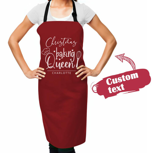 Custom Text Apron Personalized Apron Baking Queen for Family Christmas Gifts