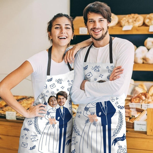 Custom Apron Wedding Gifts Apron Matching Couple Apron with Face Valentine's Gifts