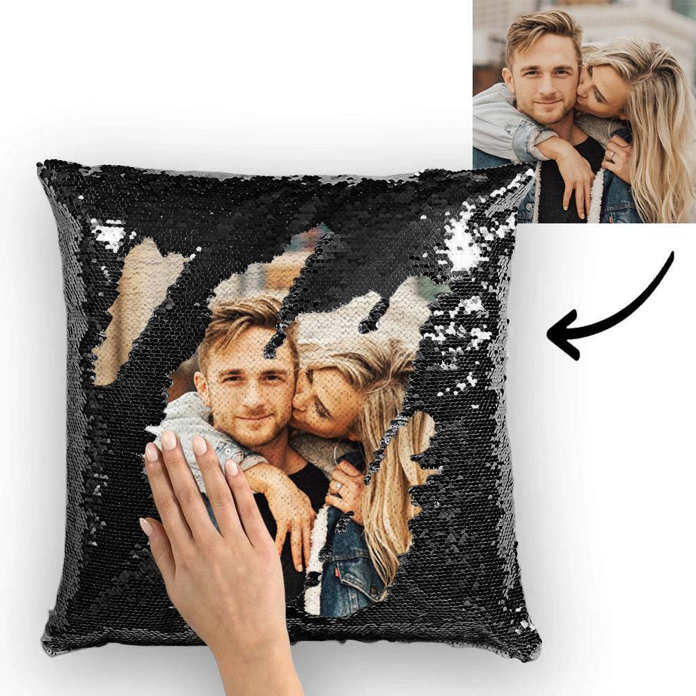 Personalized Photo Sequin Pillow Full Printing Reversible Pillow 15.75x 15.75-Black