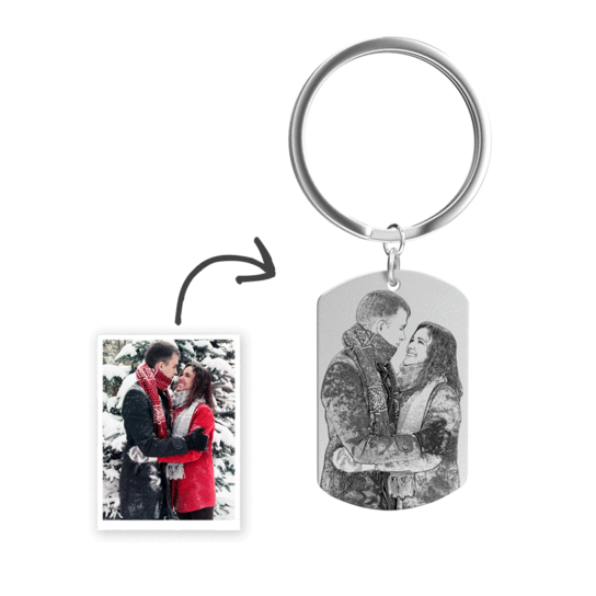 Photo Engraved Tag Key Chain | Sketch Effect
