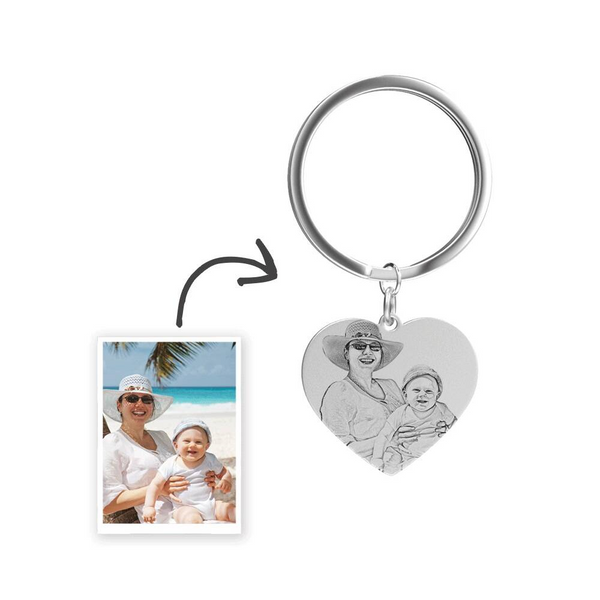 Custom Photo Keychain Stainless Steel - Heart Pendant