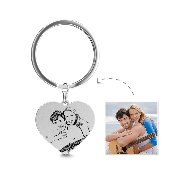 Heart Photo Engraved Tag Key Chain | Sketch Effect