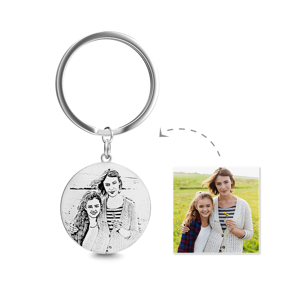 Round Photo Engraved Tag Key Chain | Sketch Effect