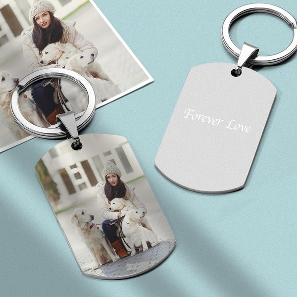 Personalized Photo Keychain With Engraved Stainless steel Color Printing