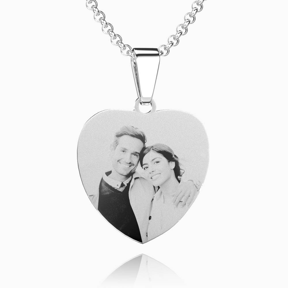 Women's Heart Photo Engraved Tag Necklace With Engraving Stainless Steel (Black And White)
