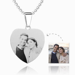 UK Heart Photo Engraved Tag Necklace With Engraving Stainless Steel (Black/White)
