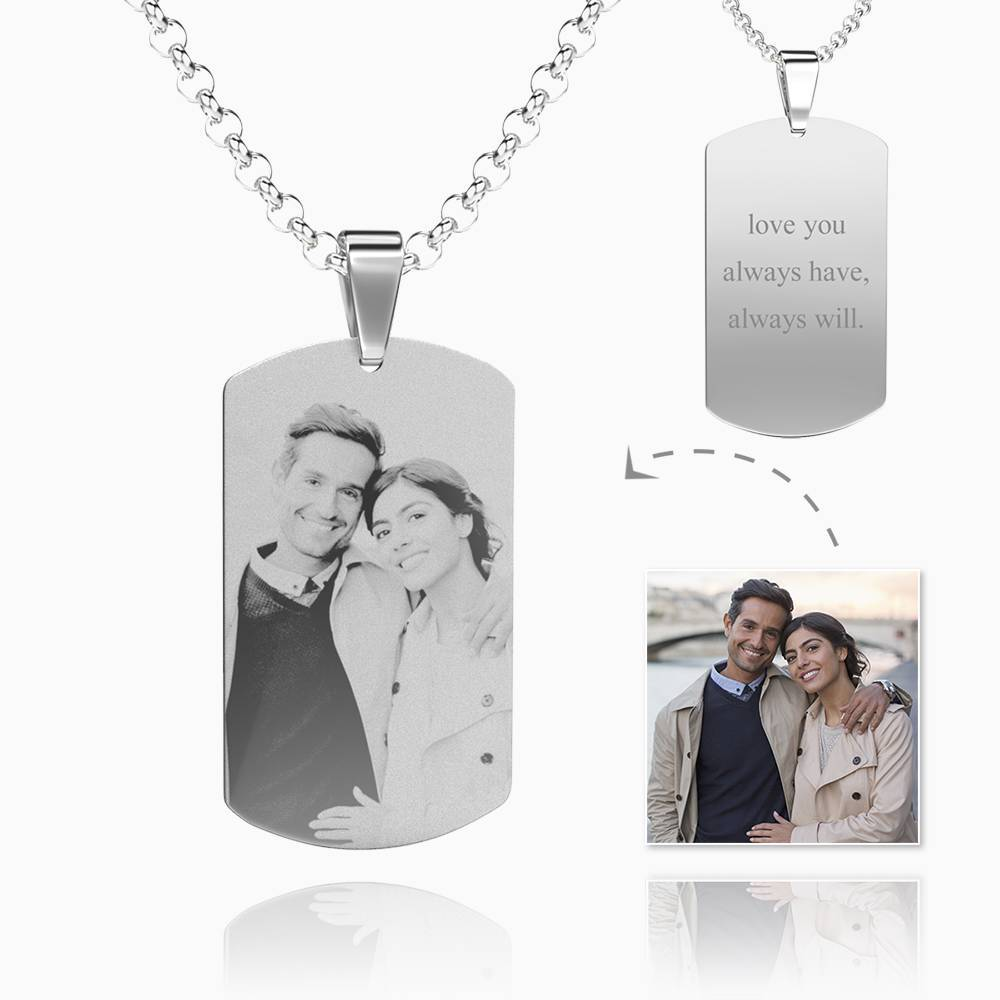 Women's Photo Engraved Tag Necklace With Engraving Stainless Steel