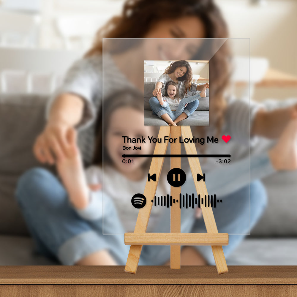 Custom Spotify Code Music Plaque With Wooden Stand