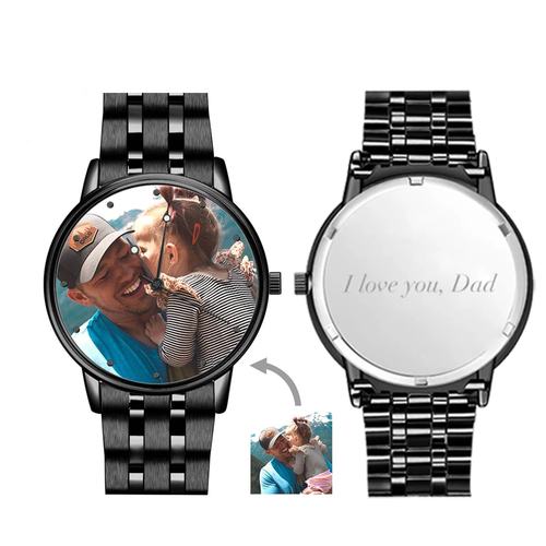 Men's Engraved Black Alloy Bracelet Photo Watch 38mm