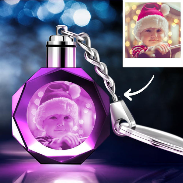 Christmas Gifts Custom Crystal Photo Keychain Cute Baby