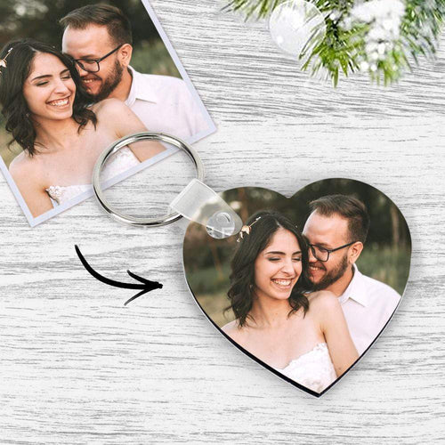 Custom Photo Keychain Memory Gift Heart Shape Wooden Keychain