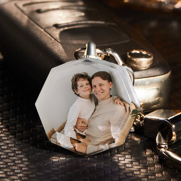 Custom Photo Keychain Crystal Keychain Father's Gifts Octagon