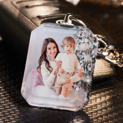 Custom Photo Keychain Crystal Keychain Mother's Gifts