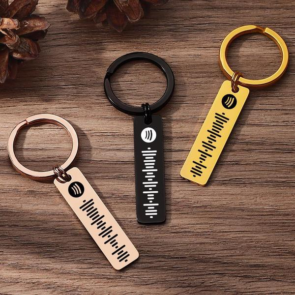 Scannable Music Spotify Code Keychain Custom Music Song Keychain Stainless Steel Black