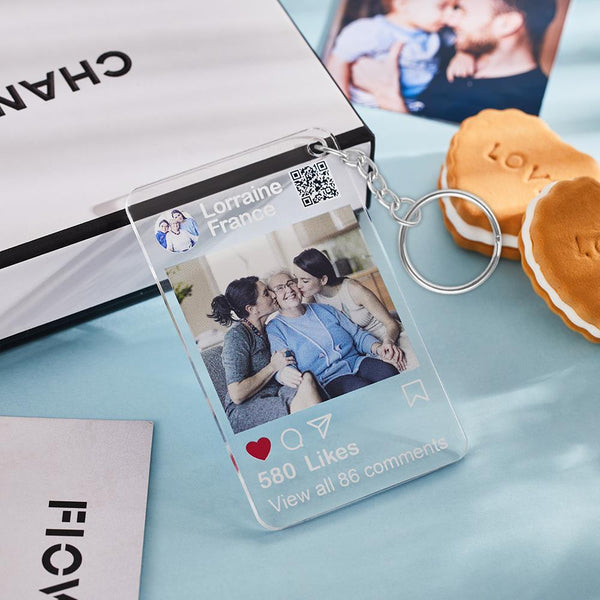 Custom Stand Instagram Glass Plaque-Keychain