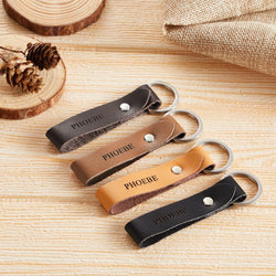 Custom engraved leather keyring with your name-multiple colour