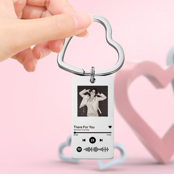 Scannable Spotify Code Keychain with Photo Music Keychain-Best Gifts