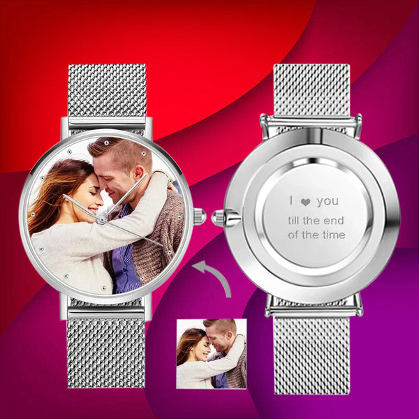UK Custom Photo Watch Engraved Alloy Bracelet