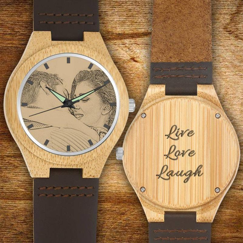 Custom Engraved Wooden Photo Watch Brown Cow Leather Strap