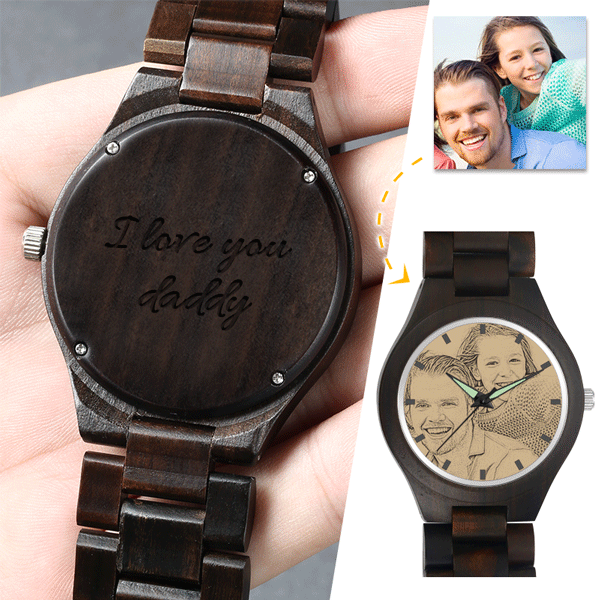 Men's Engraved Wooden Photo Watch All Black Ebony 45mm