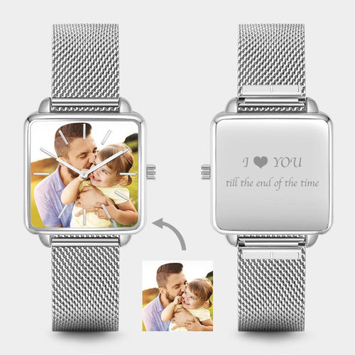 Custom Unisex Engraved Photo Watch - Silver Square Case Watch
