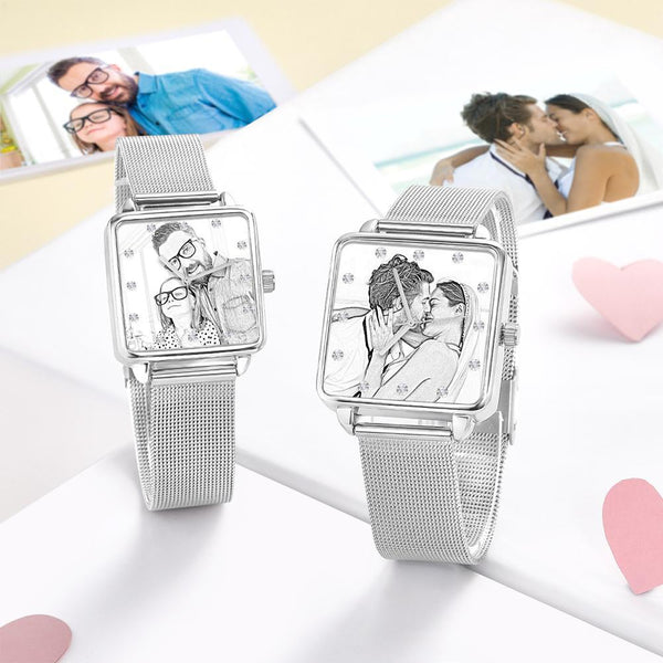 Custom Unisex Engraved Photo Watch - Silver Square Case Watch Sketch